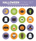 Flat Halloween icons with creepy symbols for infographics, cards, kids and web designFlat Halloween icons with creepy symbols for infographics, cards, kids and web design