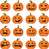 Halloweens pumpkin icons set