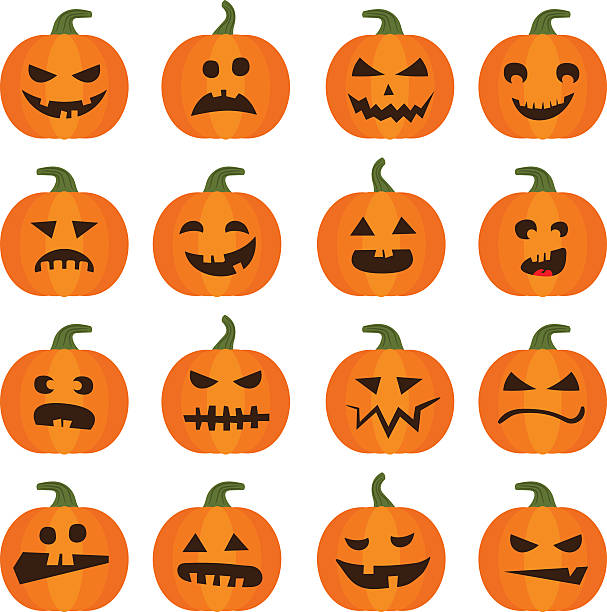Halloweens pumpkin icons set Vector halloweens pumpkin set illustration icons isolated on white background. Halloween holiday facial expressions spooky food pumpkin stock illustrations