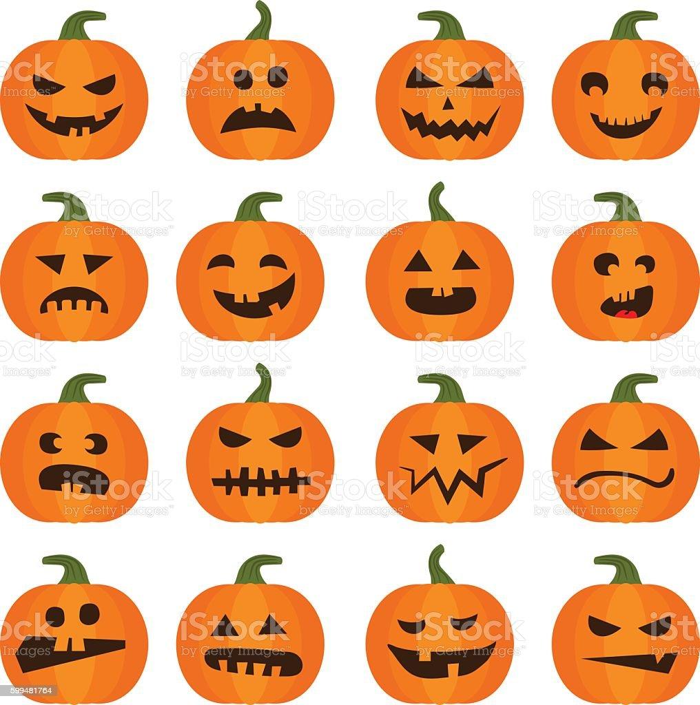 Halloweens pumpkin icons set vector art illustration
