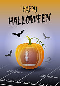 Happy Halloween. Sports greeting card. Realistic American football or rugby ball in the shape of a Pumpkin. Vector illustration.