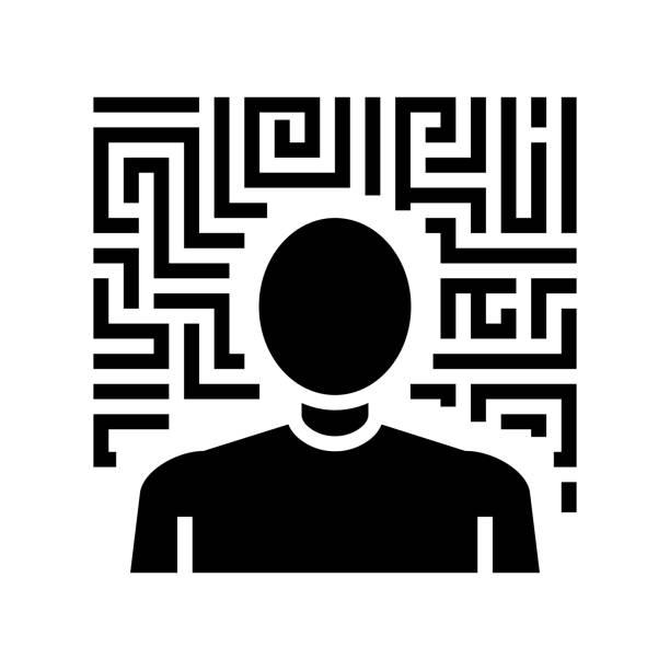stockillustraties, clipart, cartoons en iconen met hallucinaties psychologische problemen glyph pictogram vector illustratie - paranoïde