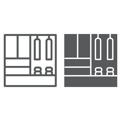 Hallway furniture line and glyph icon, furniture and home, cupboard sign, vector graphics, a linear pattern on a white background.