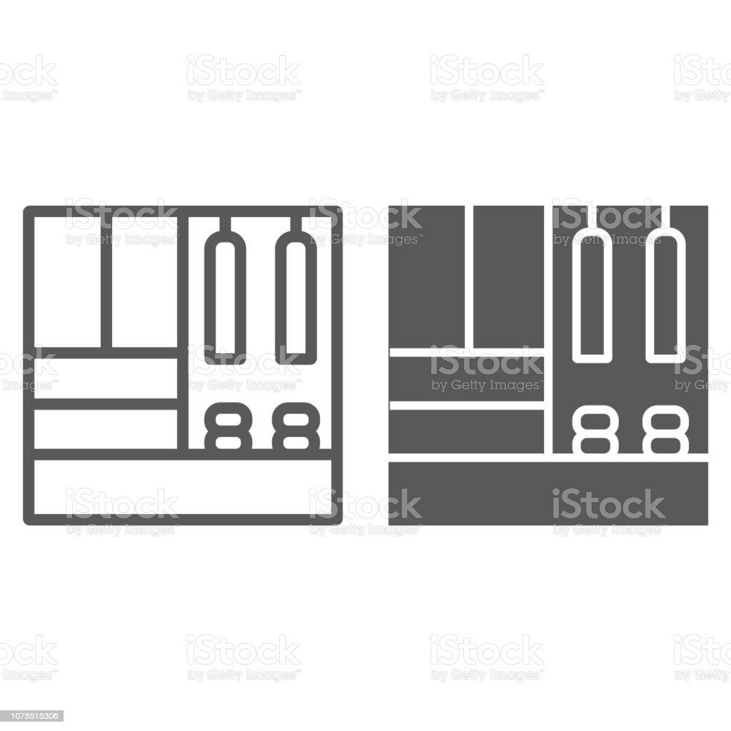 Hallway furniture line and glyph icon, furniture and home, cupboard sign, vector graphics, a linear pattern on a white background. vector art illustration
