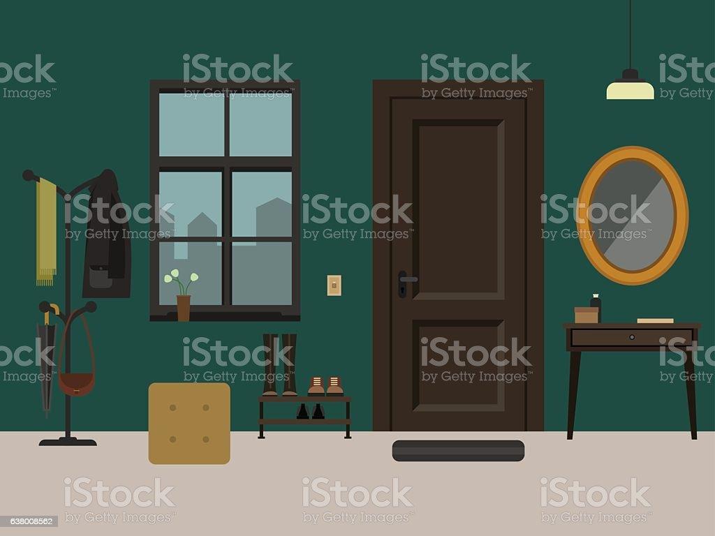 Hallway interior with furniture. vector art illustration