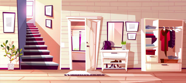 stockillustraties, clipart, cartoons en iconen met hal kamer interieur vector illustratie - photography curtains