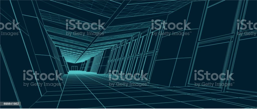 Hallway with sloping glass walls vector art illustration