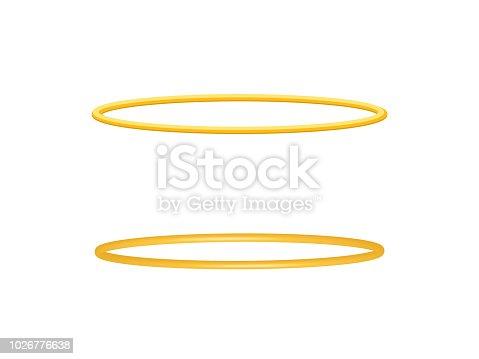 Halo angel ring . Holy golden nimbus circle isolated
