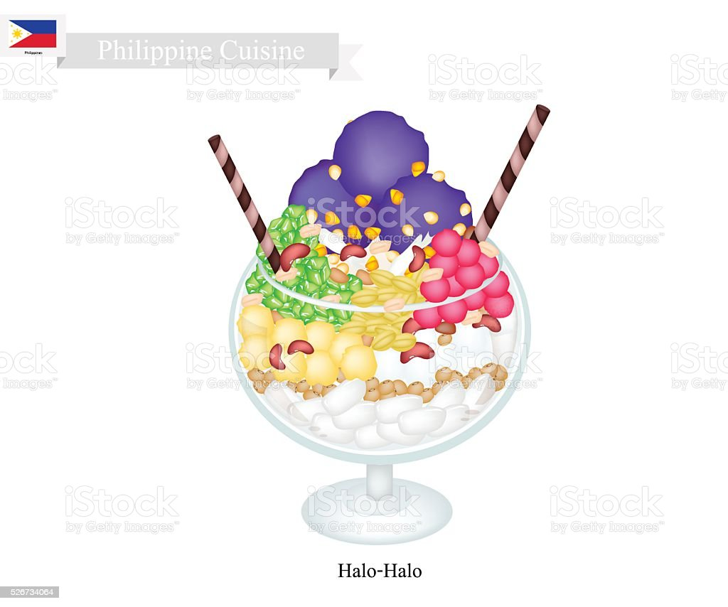 Halo Halo or Filipino Shaved Ice with Milk and Fruits vector art illustration