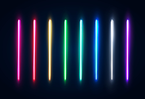 Halogen Or Led Light Lamps Elements Pack For Night Party Or Game Design Neon Light Tubes Set Colorful Glowing Lines Or Borders Collection Isolated On Dark Blue Background Color Vector Illustration - Stockowe grafiki wektorowe i więcej obrazów Abstrakcja