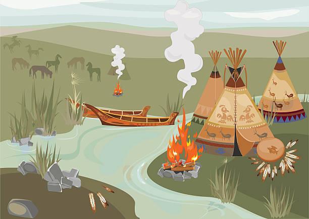 Halt Indians in prairie Halt Indians in prairie lakeshore stock illustrations