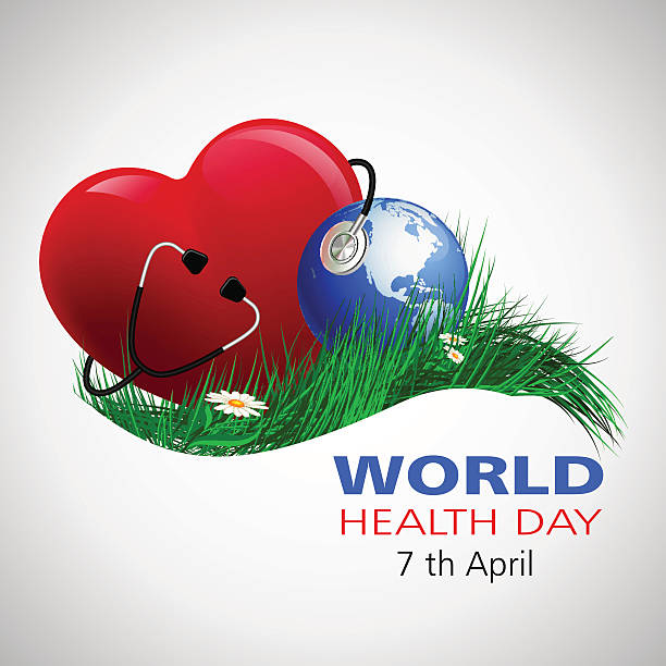 halth_day_world World Health Day. Vector composition of the heart of the globe and a stethoscope on the grass with camomiles, located on a white background world health day stock illustrations