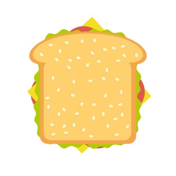 illustrazioni stock, clip art, cartoni animati e icone di tendenza di ham and vegetable sandwich illustration - panino