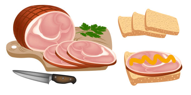 ハム。燻製肉は、食欲をそそるスライスにカット。アイコンのハム。ハムのサンドイッチ。スモーク ポーク、パン、オニオン、マスタードのスライス。美味しいハムとスライスされたパン。ベクトル ベクターアートイラスト