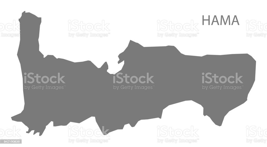 Hama Map Of Syria Grey Illustration Shape Stock Vector Art More