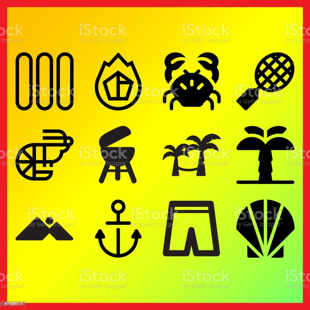 Hamac On Trees Prawn And Sausages Related Icons Set Stock Vector Art