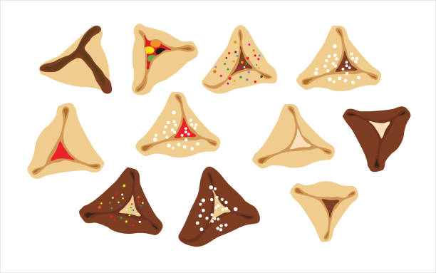 hamantaschen - jewish traditional cookies for purim on a white background- oznei haman - purim stock illustrations, clip art, cartoons, & icons