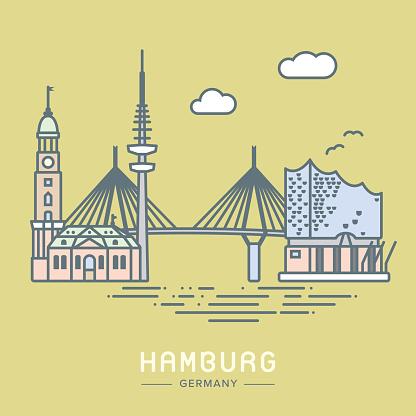 Hamburg city landmarks vector illustration