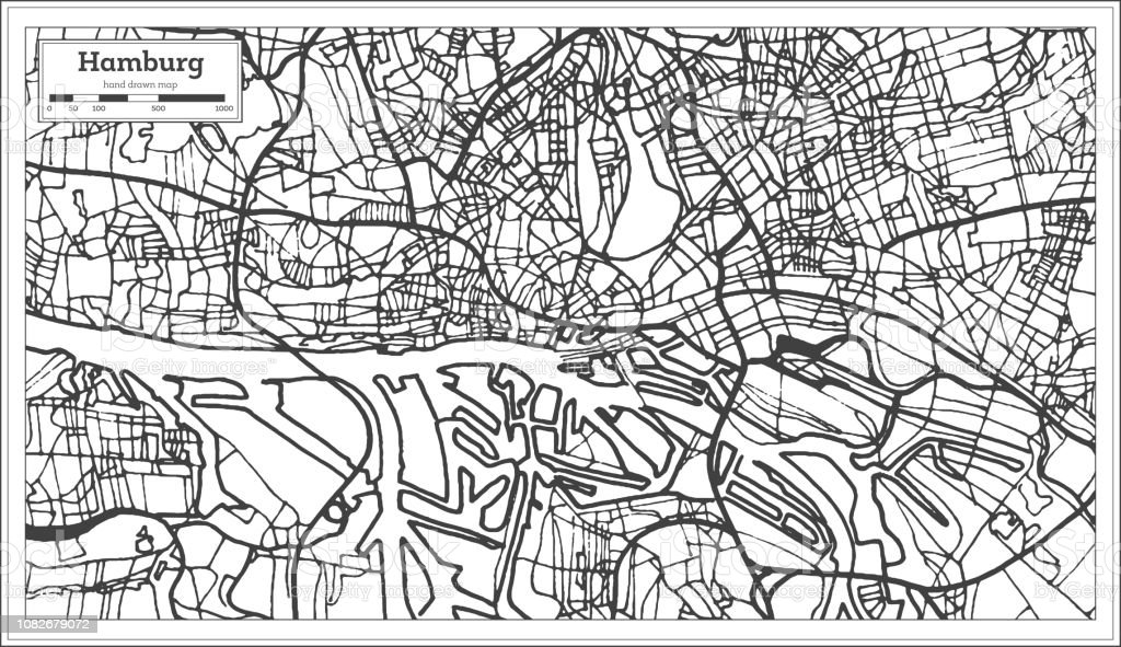 Hamburg Germany City Map in Retro Style. Outline Map.