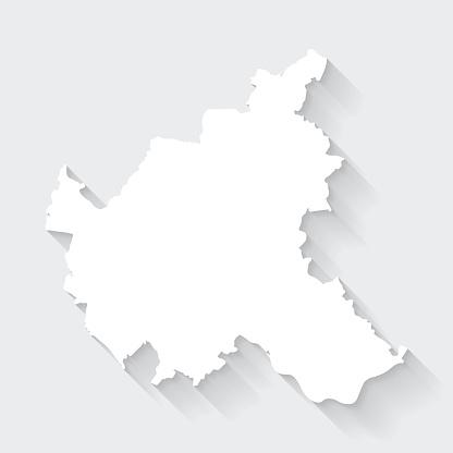 Hamburg map with long shadow on blank background - Flat Design