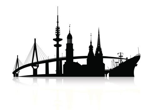 hamburg silhouette - skyline