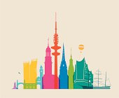 Colored silhouette of Hamburg, places of interest, main symbols.