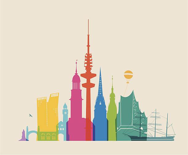 bildbanksillustrationer, clip art samt tecknat material och ikoner med hamburg skyline - colored - berlin city