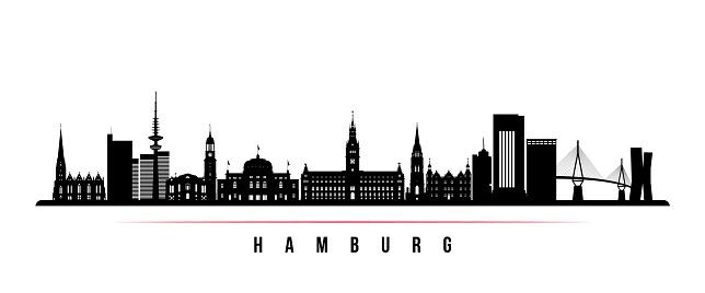 Hamburg skyline horizontal banner. Black and white silhouette of Hamburg, Germany. Vector template for your design.