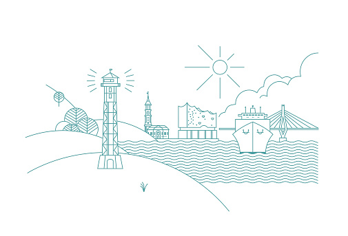 Hamburg skyline Line Art