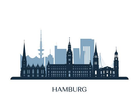 Hamburg skyline, monochrome silhouette. Vector illustration.