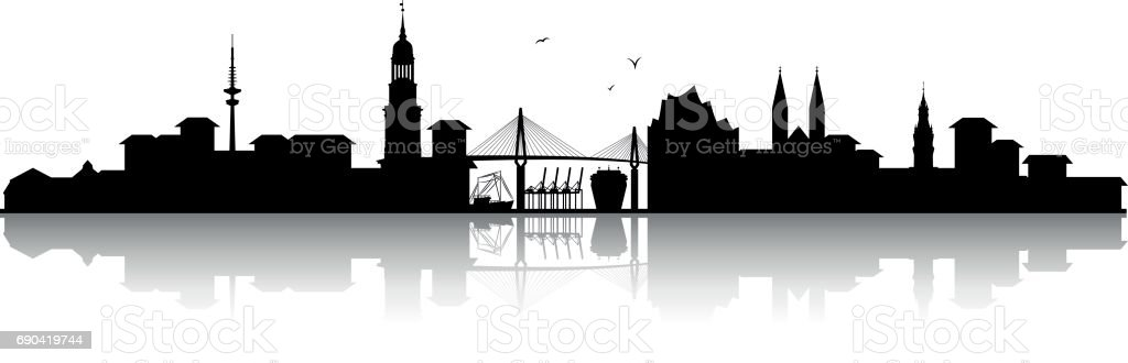 Hamburger Skyline Silhouette schwarz – Vektorgrafik