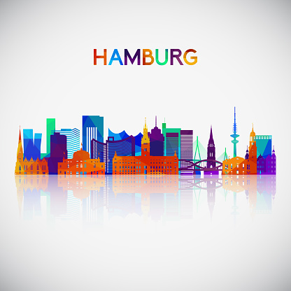 Hamburg skyline silhouette in colorful geometric style. Symbol for your design. Vector illustration.