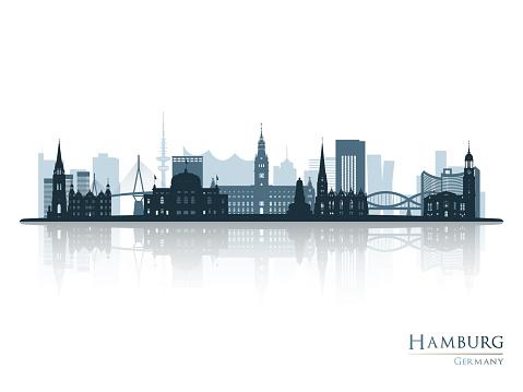 Hamburg skyline silhouette with reflection. Vector illustration.