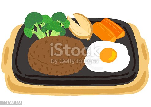 hamburg steak with fried egg and vegetables
