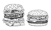 istock Hamburger and cheeseburger hand drawn vector illustration. Fast food engraved style. Burgers sketch isolated on white background. 1132703652