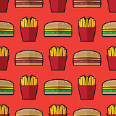 Hamburger, French fries, Background, Food and Drink, Pattern