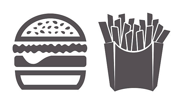 stockillustraties, clipart, cartoons en iconen met hamburger and fries icons - friet