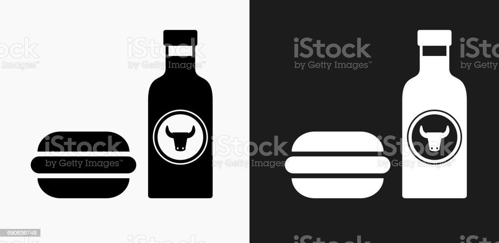 Hamburger and Hot Sauce Icon on Black and White Vector Backgrounds vector art illustration