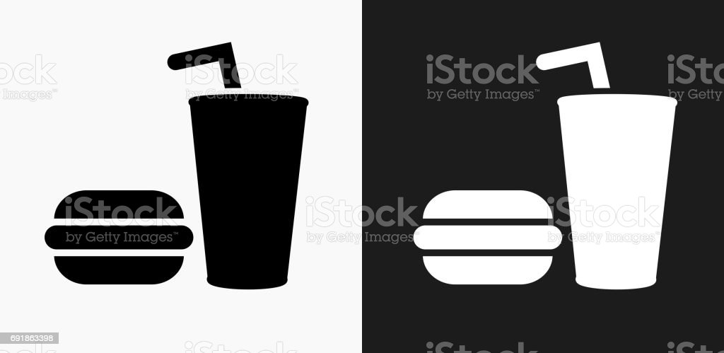 Hamburger and Soda Icon on Black and White Vector Backgrounds vector art illustration