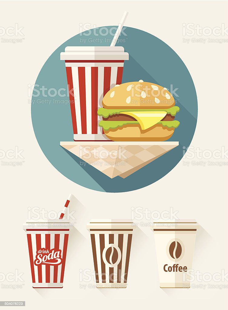 Hamburger and soda in paper cups royalty-free stock vector art