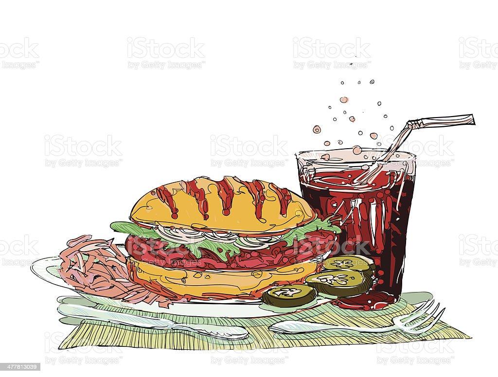 Hamburger and soft drink royalty-free stock vector art