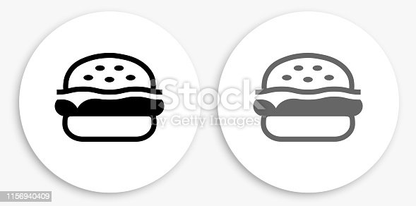 Hamburger  Black and White Round Icon. This 100% royalty free vector illustration is featuring a round button with a drop shadow and the main icon is depicted in black and in grey for a roll-over effect.