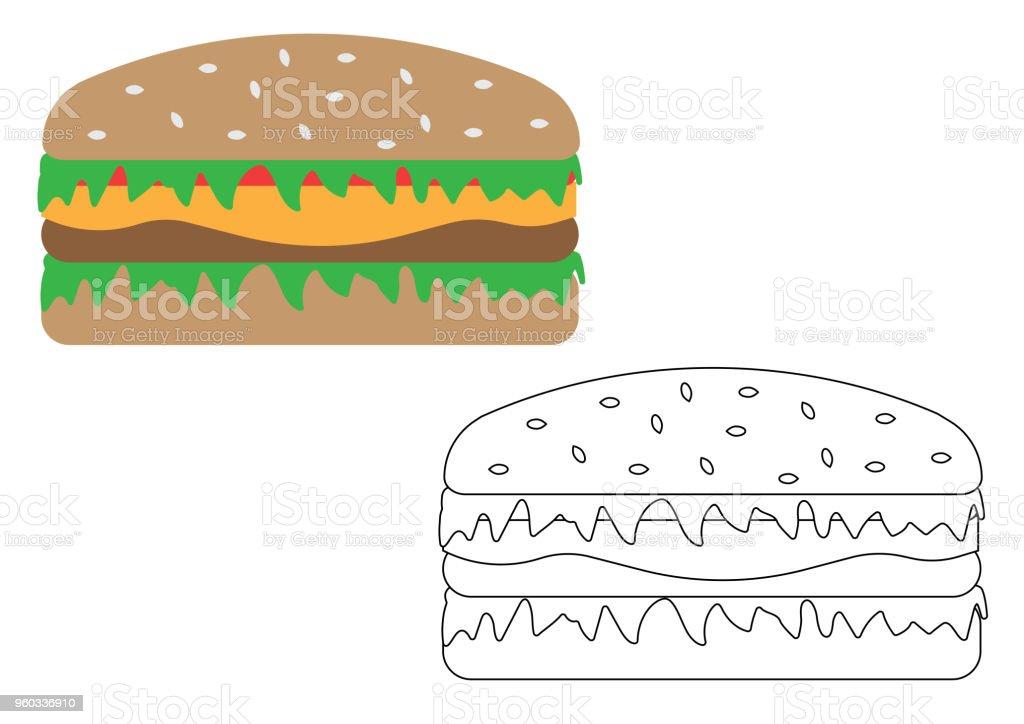 Bread Bun Burger Cheese Cheeseburger Hamburger Cartoon Coloring Page