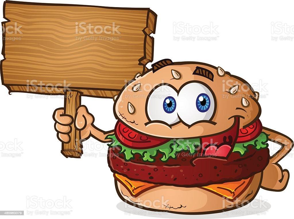 Hamburger Cartoon Wooden Sign vector art illustration