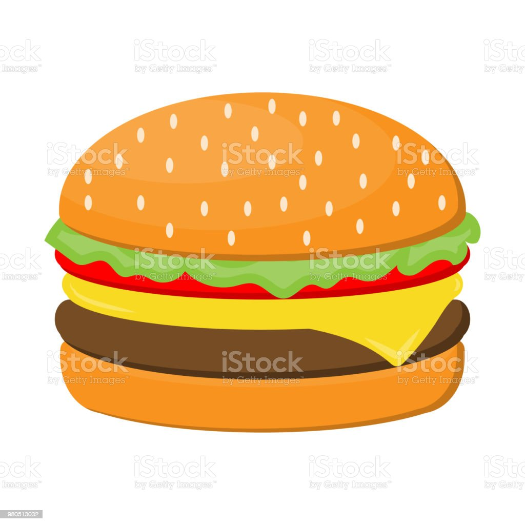 Hamburger cheese with beef, salad, tomato and ham isolated on white background. - Royalty-free Hamburger stock vector