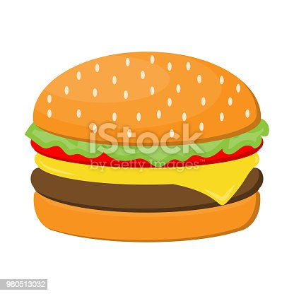 Hamburger cheese with beef, salad, tomato and ham isolated on white background.