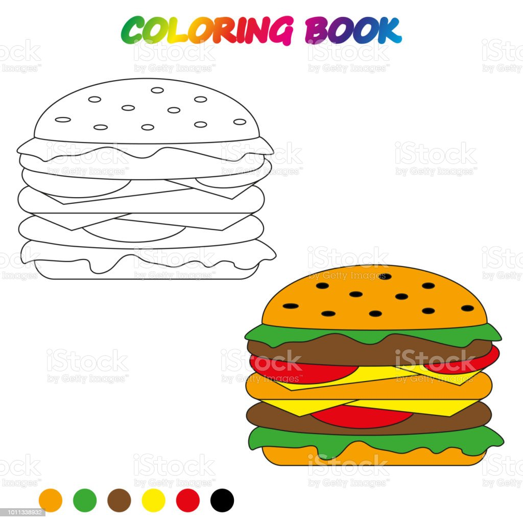 Hamburger Coloring Book Page To Educate Preschool Kids Game