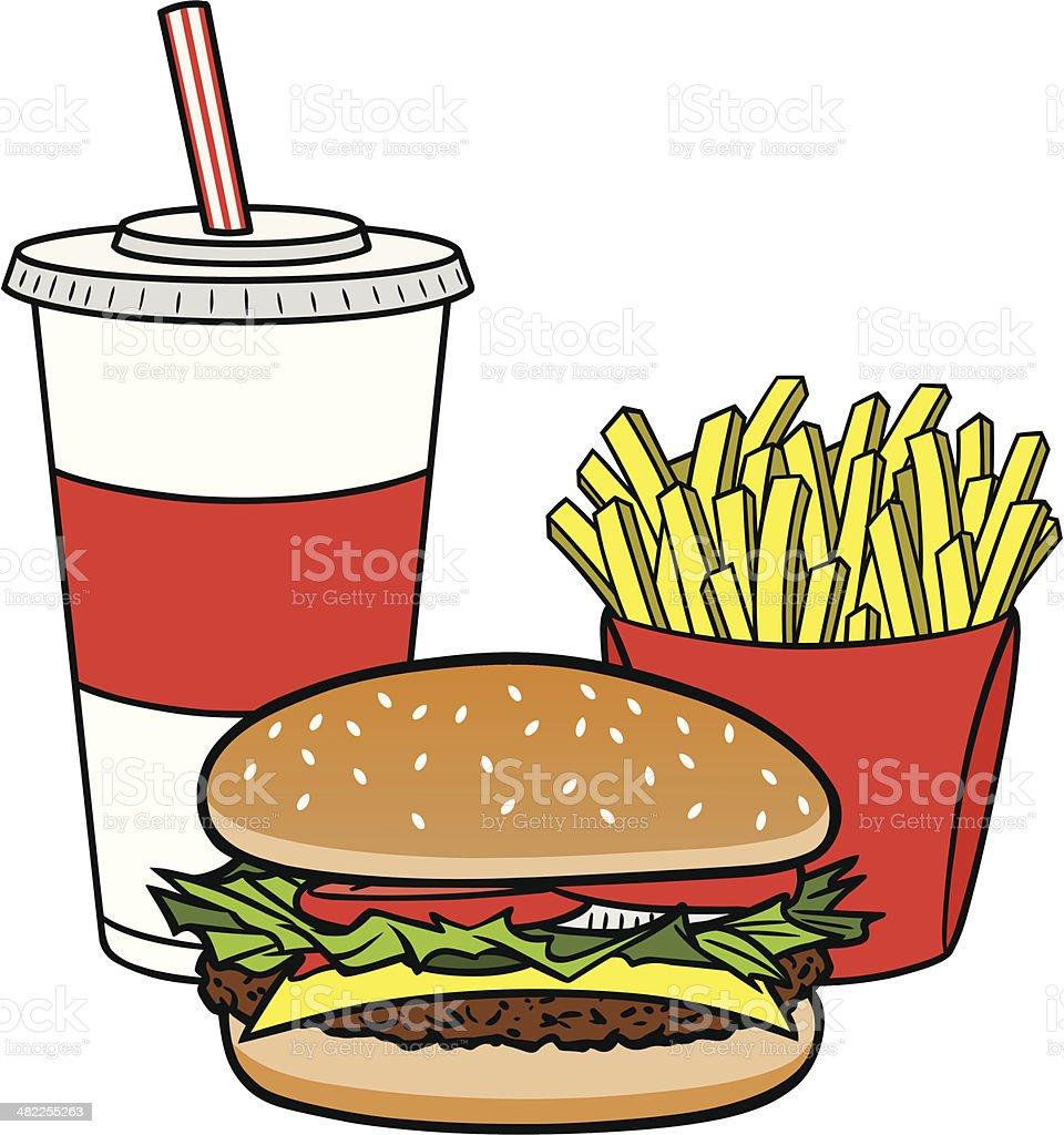 Hambúrguer Combo - ilustração de arte em vetor