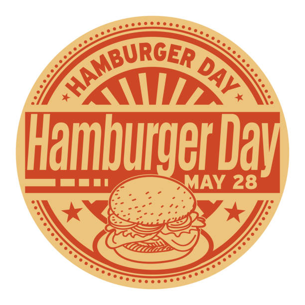 hamburger day stamp - cheeseburger stock illustrations