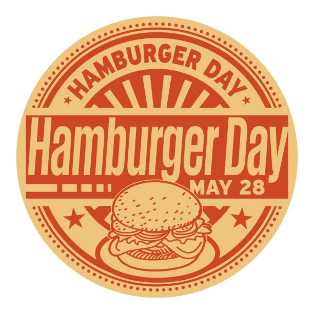 Hamburger Day stamp Hamburger Day, May 28, rubber stamp, vector Illustration cheeseburger stock illustrations